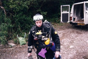Rob Palmer getting ready to dive