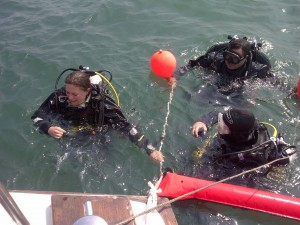 Divers waiting to get on the dive lift