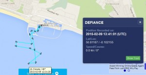 AIS track of Defiance during testing. Shown on Marine Traffic Website
