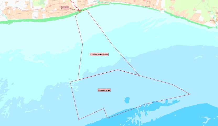 Map of land leased for Rampion Windfarm