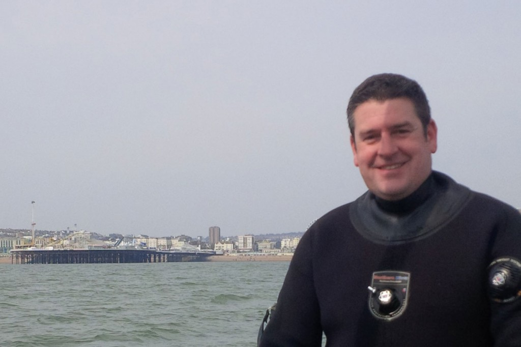 Diver with Brighton in the background