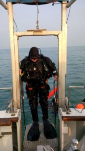 Diver on Dive Lift